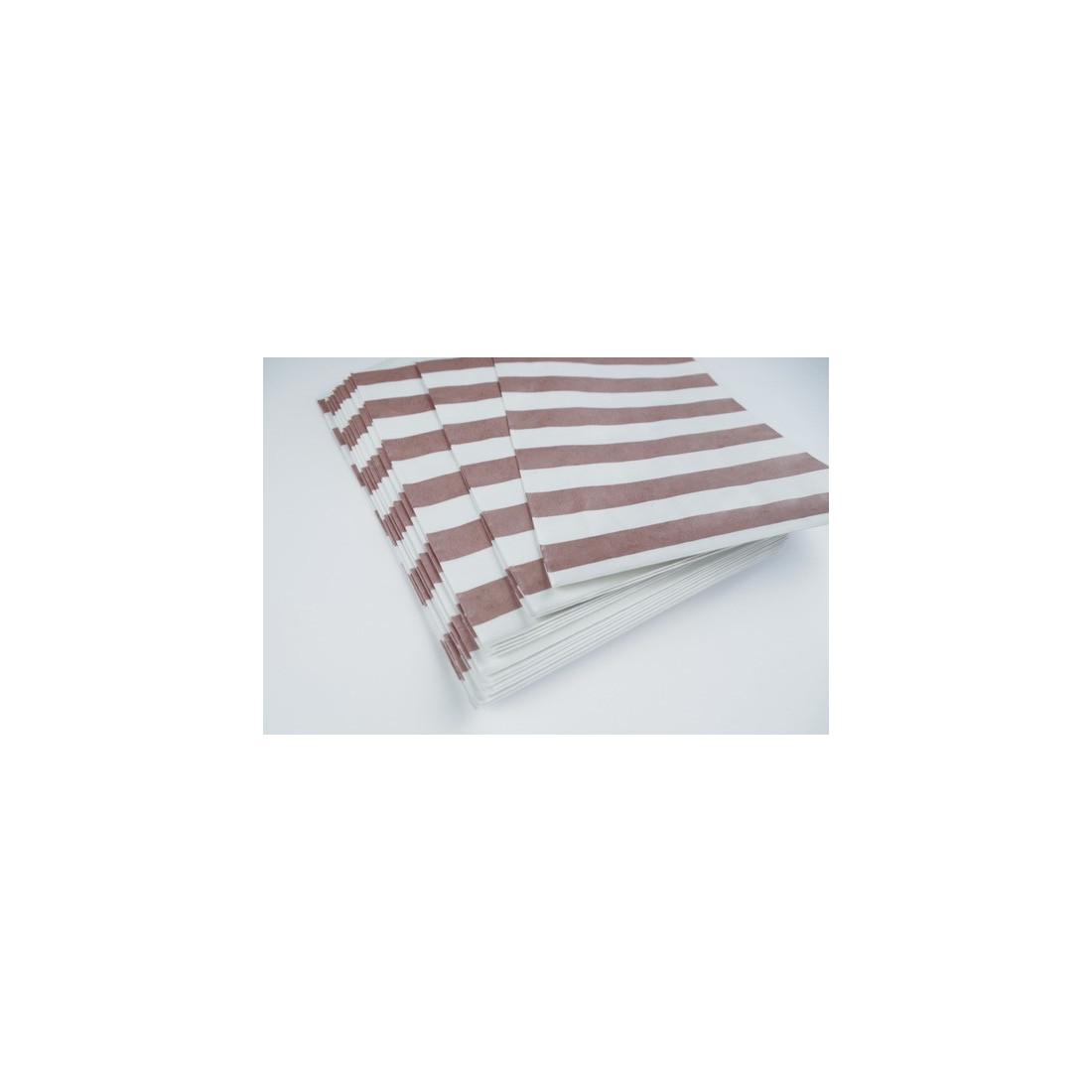 sachets pochettes lot de 10 en papier blanc a motif rayures horizontales rose nacre 19 x 125 cm. Black Bedroom Furniture Sets. Home Design Ideas