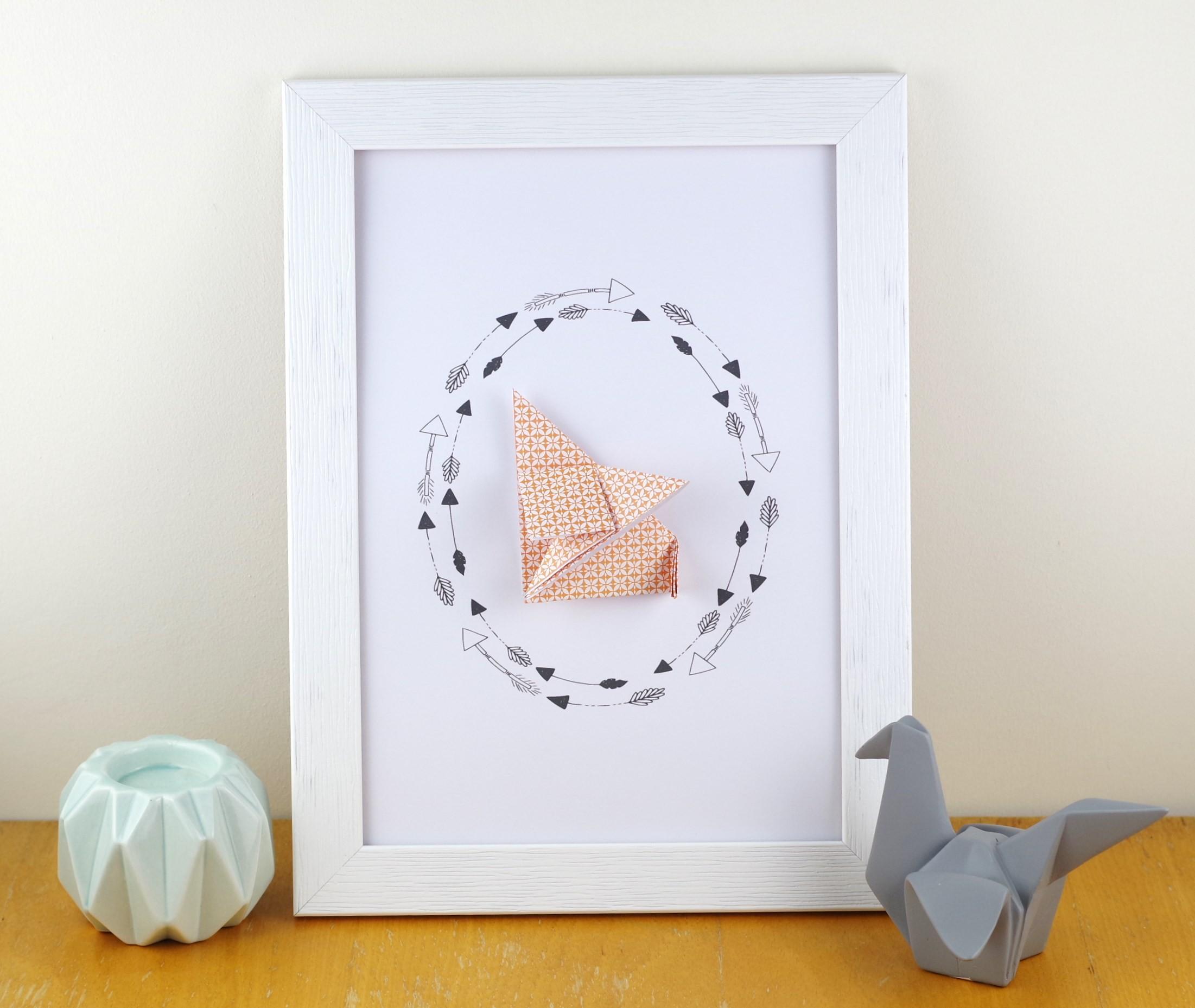 Affiche A4 A Motif Graphique Renard Orange  En Origami Decoration Murale Pour Chambre Bebe Fille