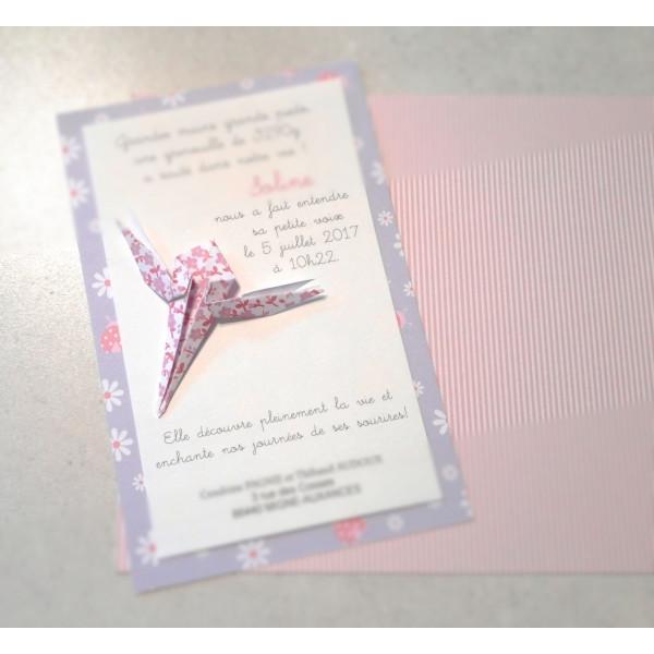 faire part baptême original pour fille libellule en origami liberty violet - haute qualité - faire part naissance haut d
