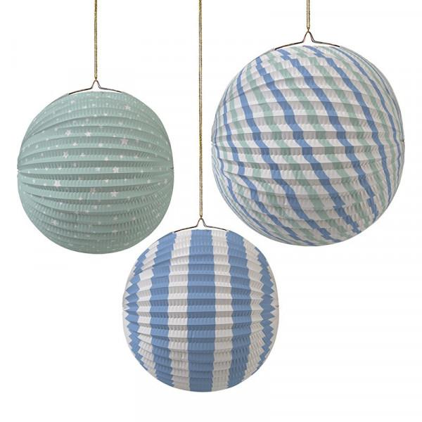 lampion boule rond bleu ciel vert d'eau meri meri lanterne décoration