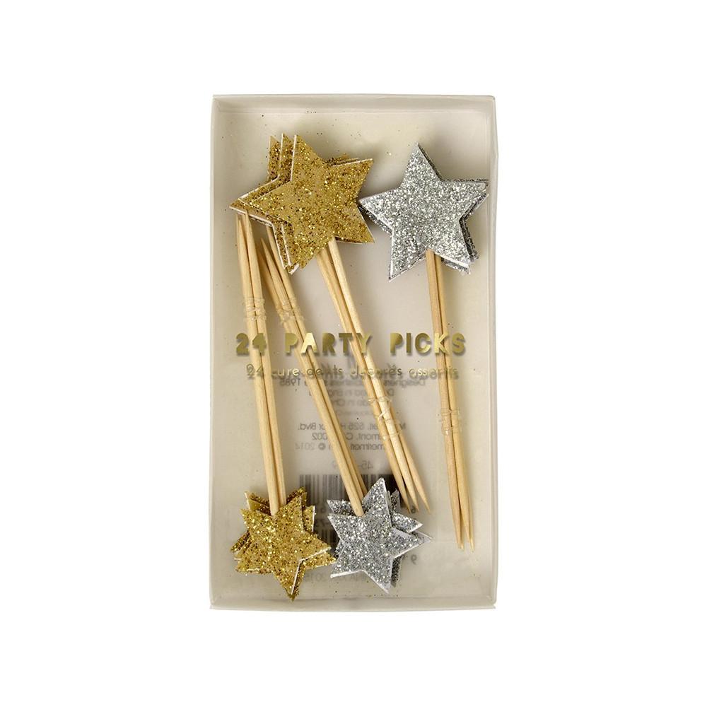 pics pour gateau étoiles doré argent décoration gateau baptême pailletes