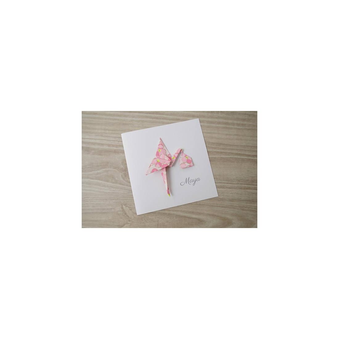 faire part naissance chic pour fille cigogne en origami. Black Bedroom Furniture Sets. Home Design Ideas