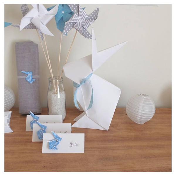 Grand totem candy bar bapteme lapin blanc origami
