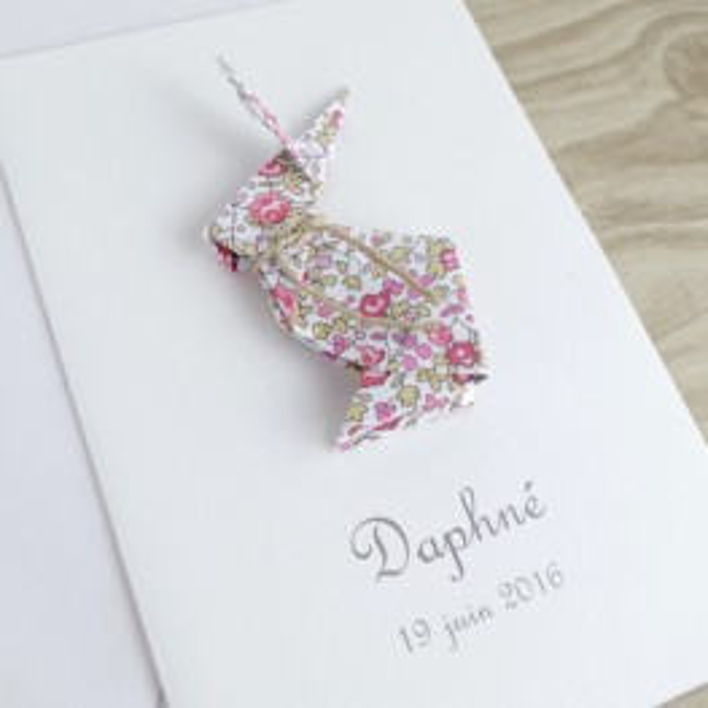 faire-part de naissance bapteme carte de remerciement lapin en origami pour fille liberty eloise fait main