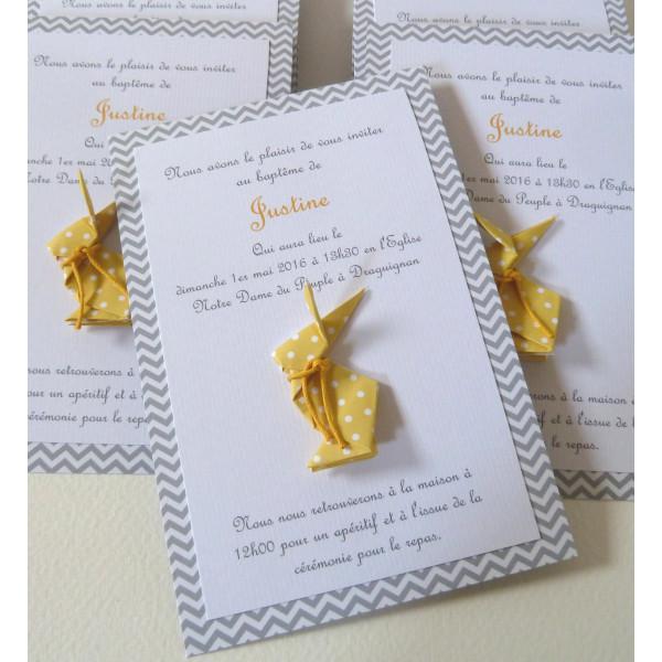 faire part de bapteme ou naissance lapin en origami jaune. Black Bedroom Furniture Sets. Home Design Ideas
