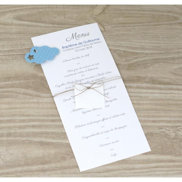 menu-et-marque-place-pour baptême garçon nuage-bleu-ciel-pour-decoration-de-table