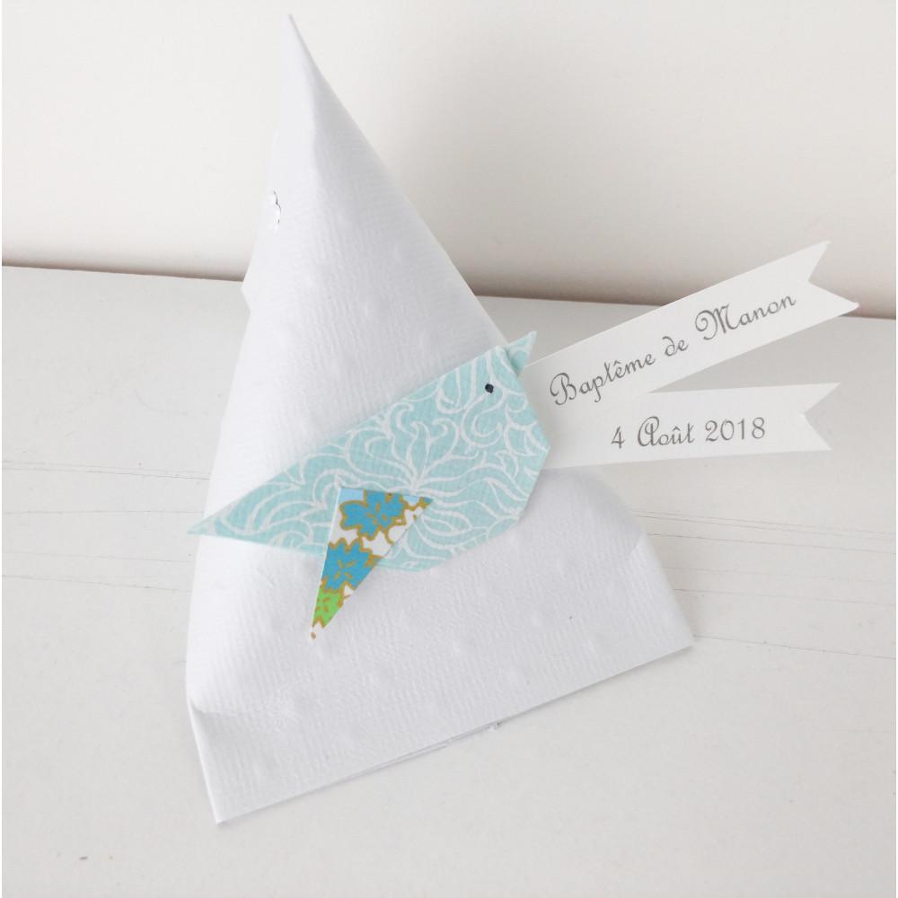 Boîte à dragées berlingot oiseau origami vert d'eau
