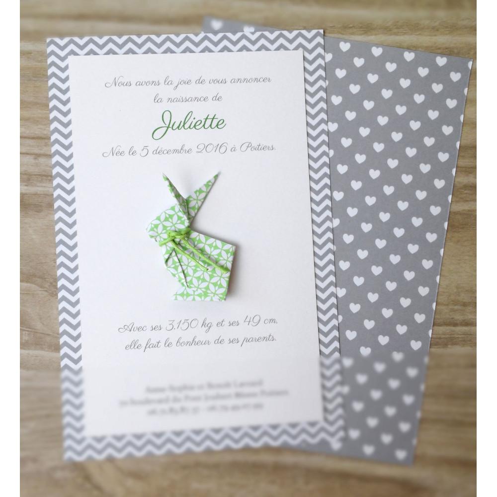 Faire part lapin en origami - vert