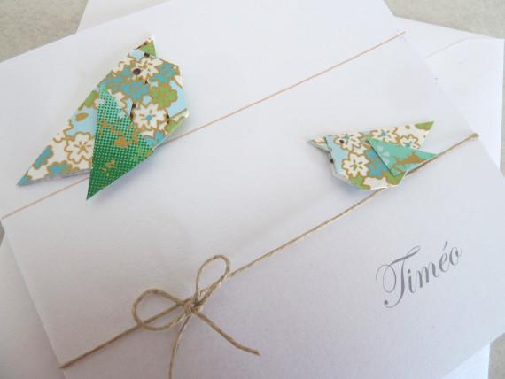 Faire part oiseaux en origami vert, bleu en papier japonais haut de gamme