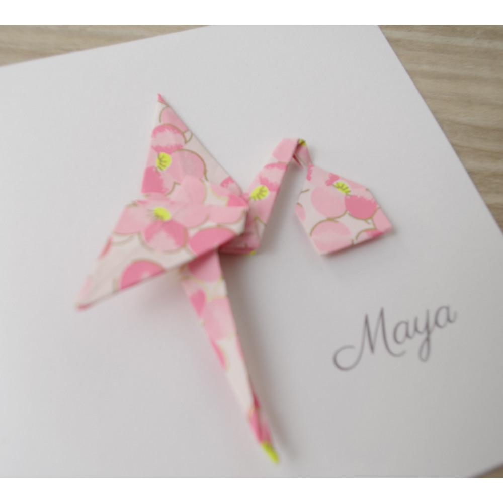 Faire part RECTO/VERSO cigogne rose papier japonais