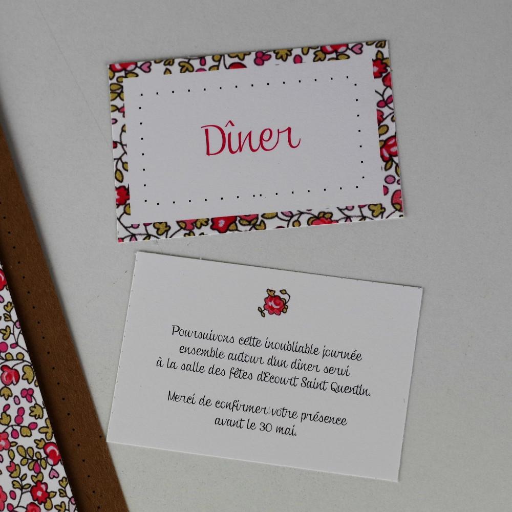 carton réponse liberty eloise mariage fait main