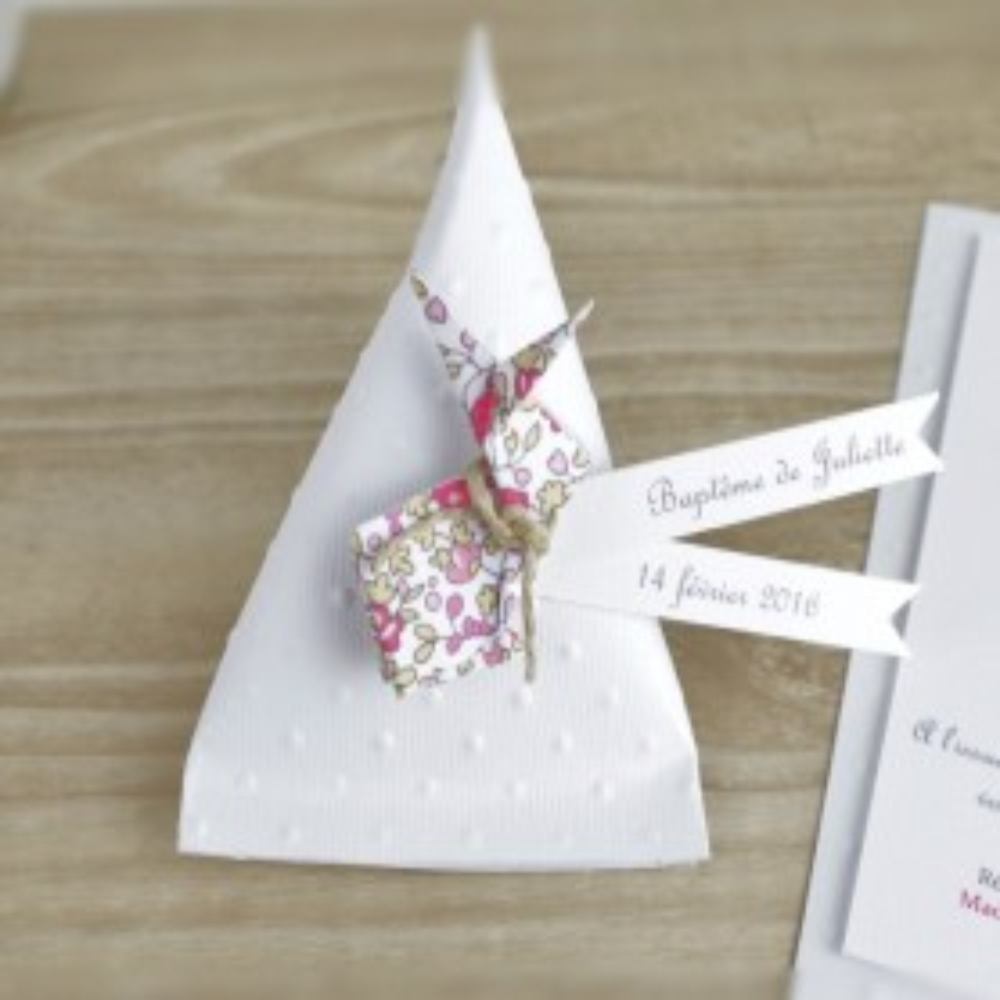 Boîte à dragées berlingot+lapin en origami liberty Eloise-