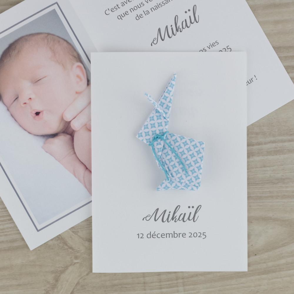 Faire part de naissance - baptême - carte de remerciement lapin en origami pour garçon turquoise / fait main