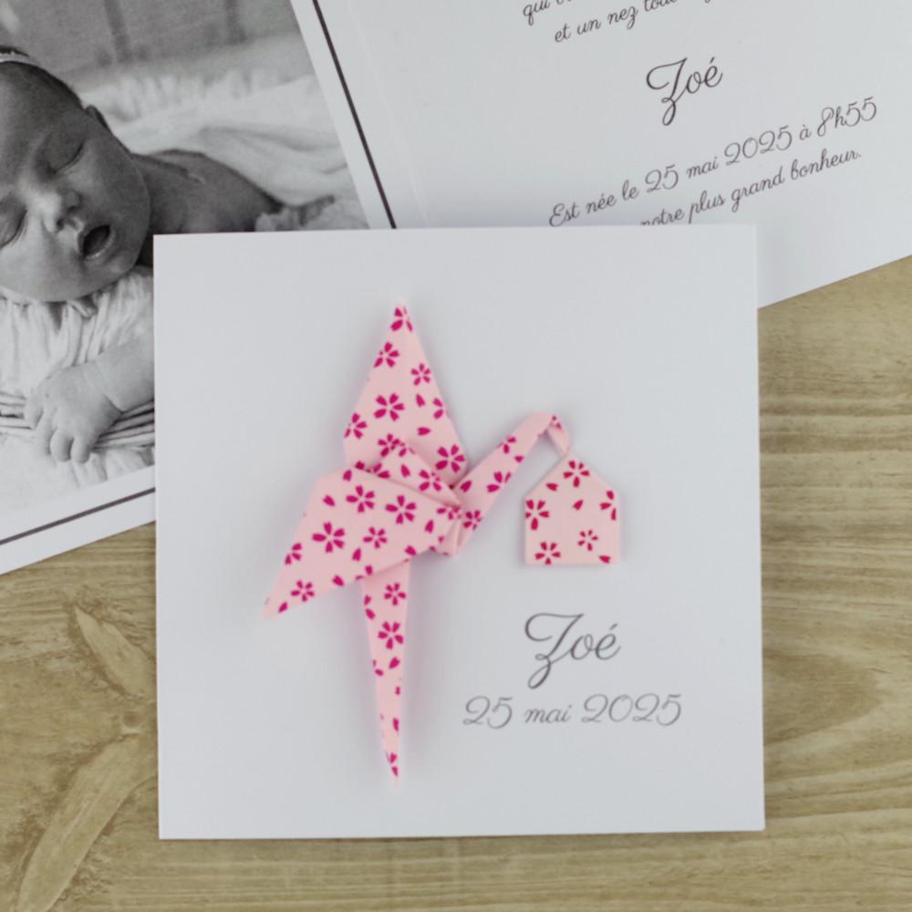 faire part naissance fille cigogne rose en papier japonais haut de gamme