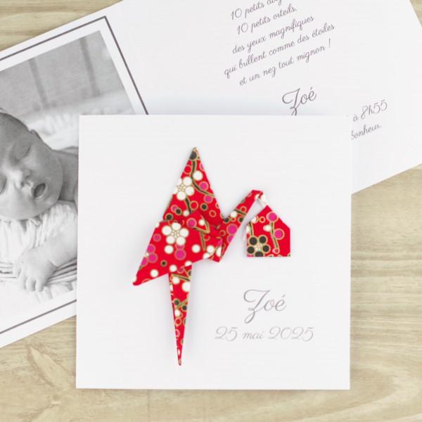faire part de naissance luxueux fille garcon cigogne rouge artisanal