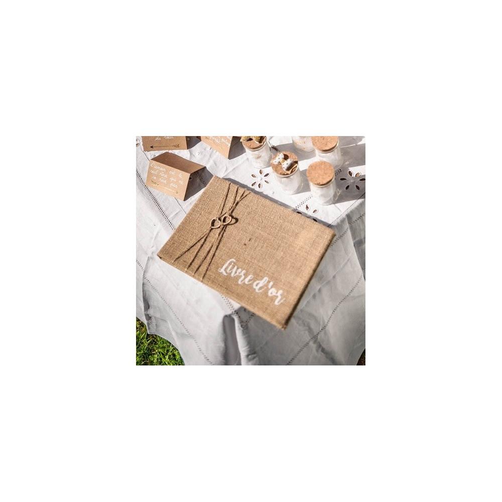 livre d'or mariage jute coeurs bohème champêtre chic