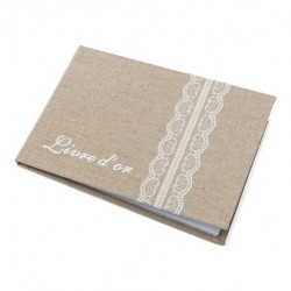 livre d'or mariage lin dentelle champêtre chic baptême