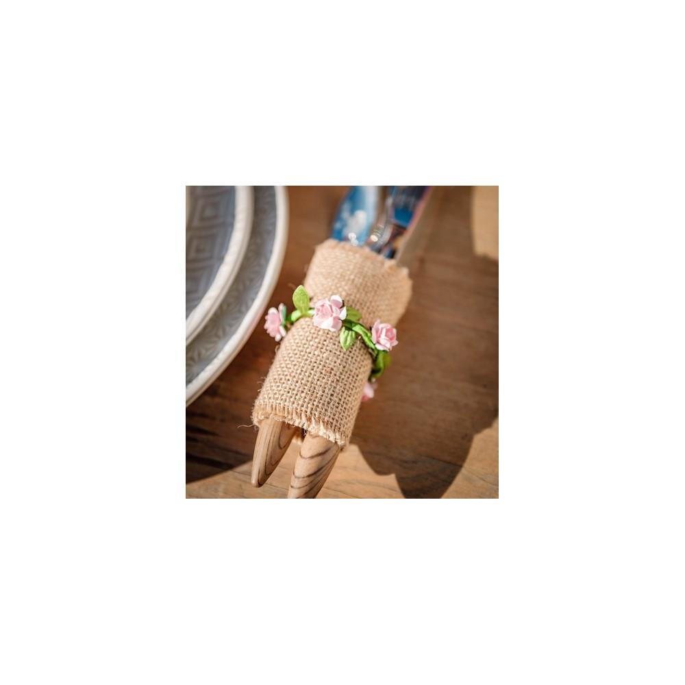 rond de serviette couronne fleurs en papier rose pour baptême mariage