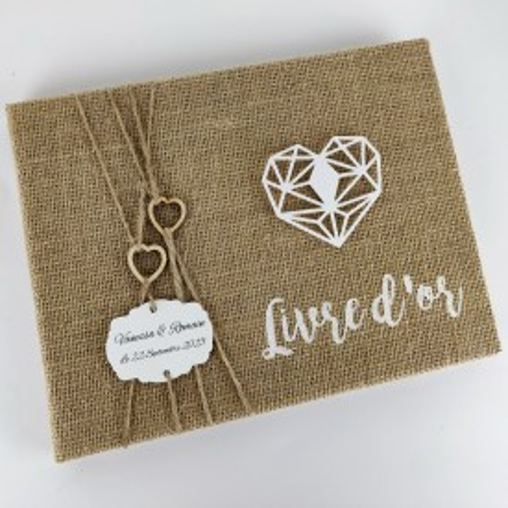 Livre d\'or personnalisé mariage jute et coeurs