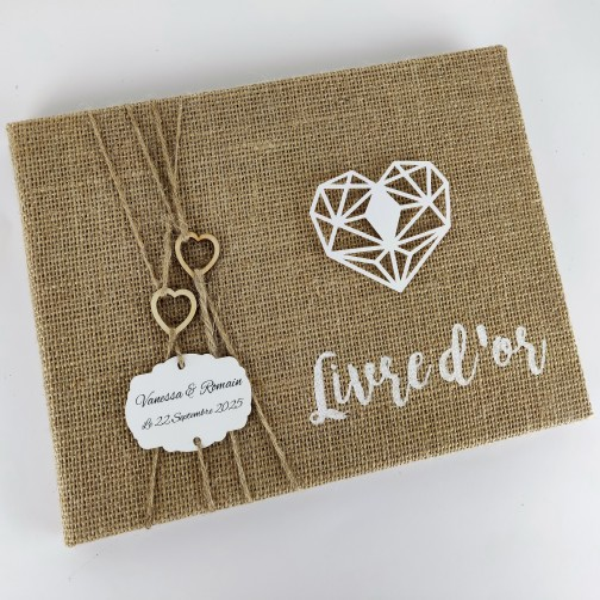 Livre D Or Mariage Personnalise Jute Coeurs Bois Origami Boheme Champetre Chic