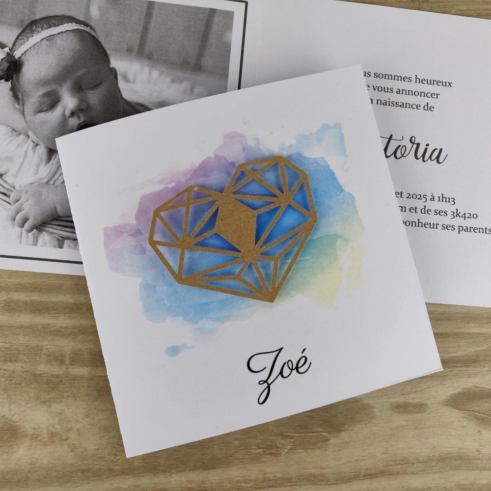 Faire part naissance baptême en aquarelle coeur en origami