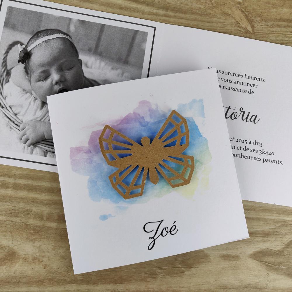 Faire part naissance ou baptême aquarelle papillon graphique en relief
