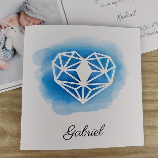 Faire part naissance ou baptême garçon en aquarelle + coeur graphique en relief