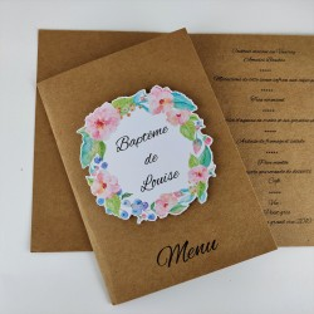 Menu mariage baptême carte pliée kraft fleurs aquarelle