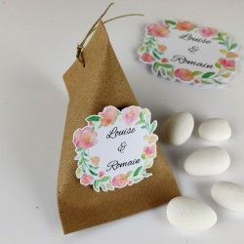 Boîte à dragées mariage berlingot kraft fleurs en aquarelle