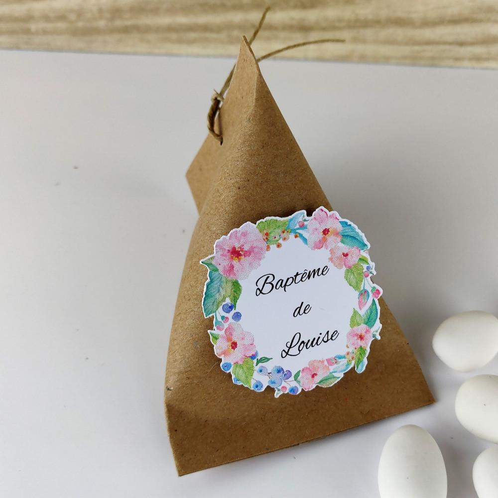 Boîte à dragées berlingot baptême kraft couronne de fleurs en aquarelle