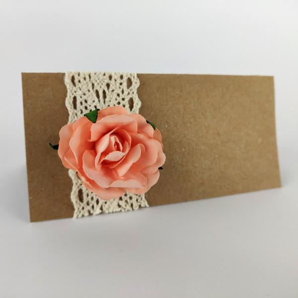 Marque place mariage kraft dentelle et fleur en papier pêche