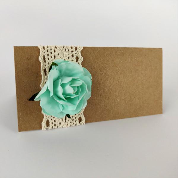 marque place kraft dentelle mariage champêtre fleur papier mint chic