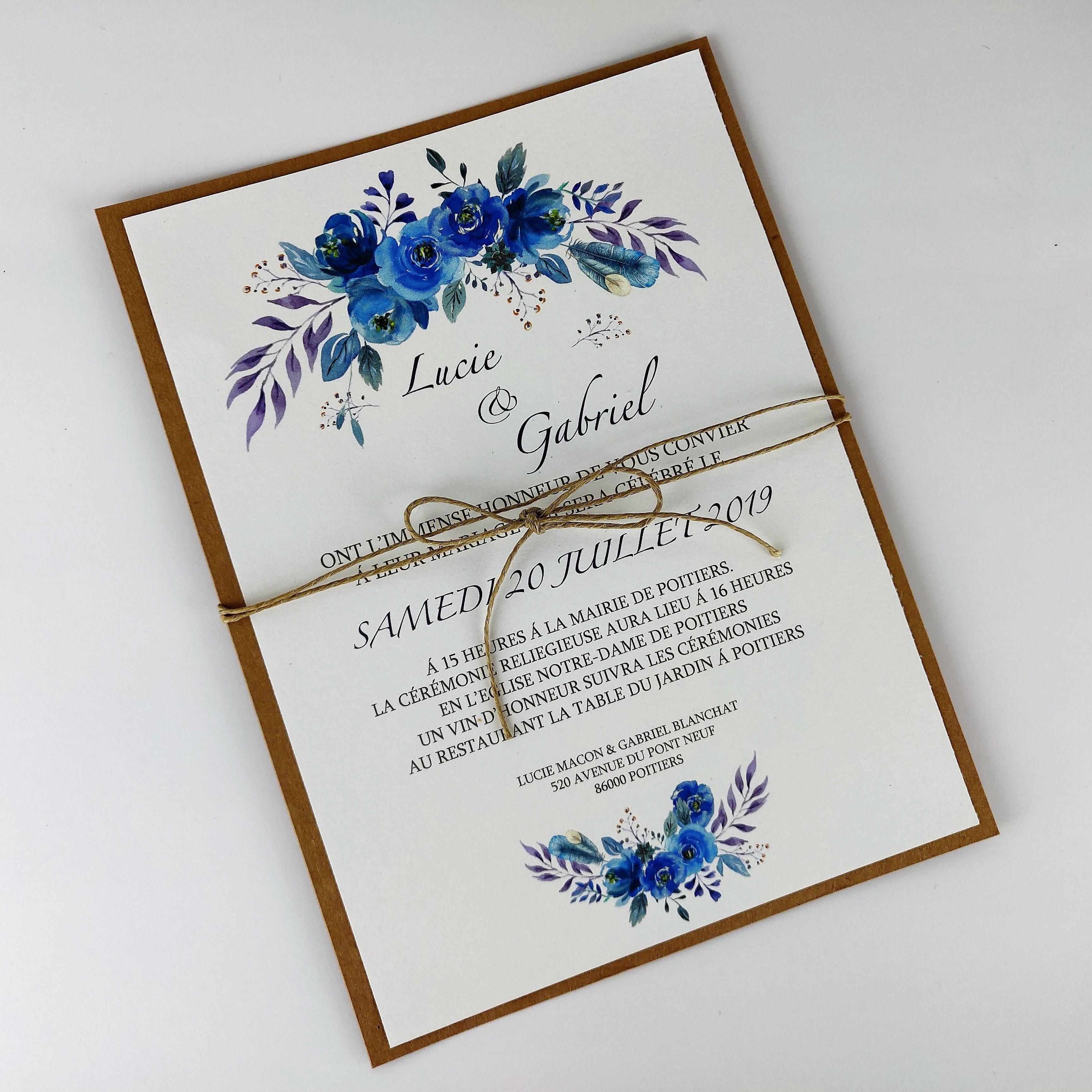 Faire Part Mariage Fleurs En Aquarelle Bleu Lin Fait Main Champetre