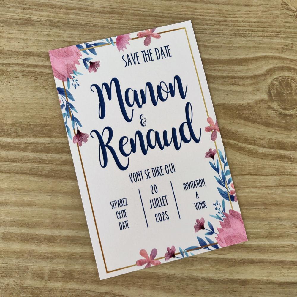save the date fleurs en aquarelle mauve mariage champêtre