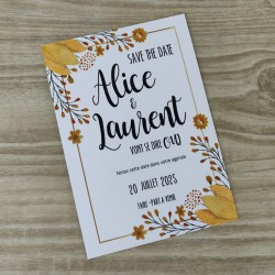 Save the date invitation mariage fleurs en aquarelle jaune moutarde