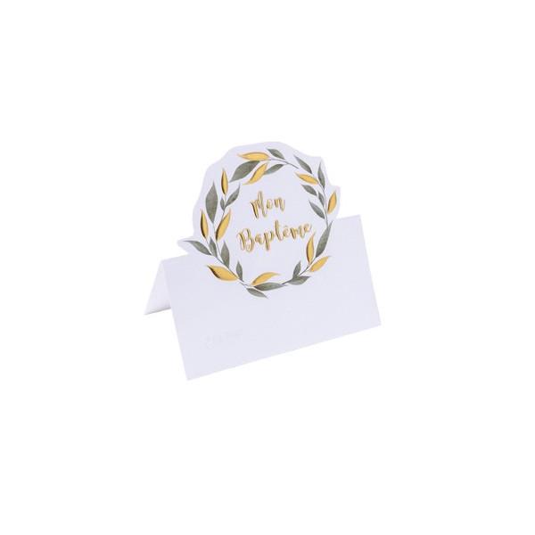10 Marque-place végétal en papier texturé, embossage or pour baptême,