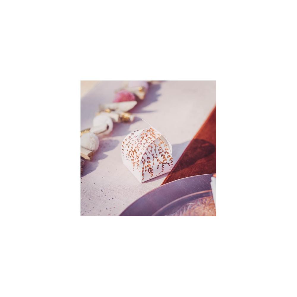 Boîte à dragées végétal rose gold papier texturé baptême ou mariage