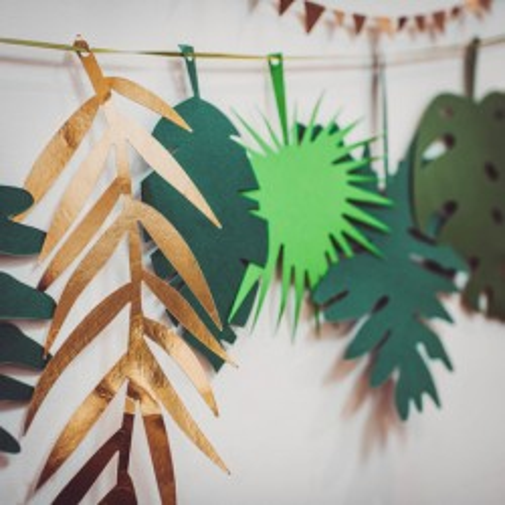 Guirlande feuilles tropicales or et vert