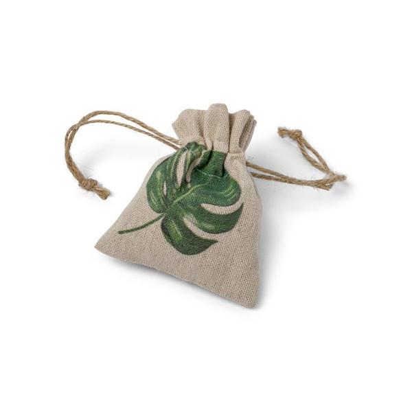 Pochon dragées feuille tropicale lin