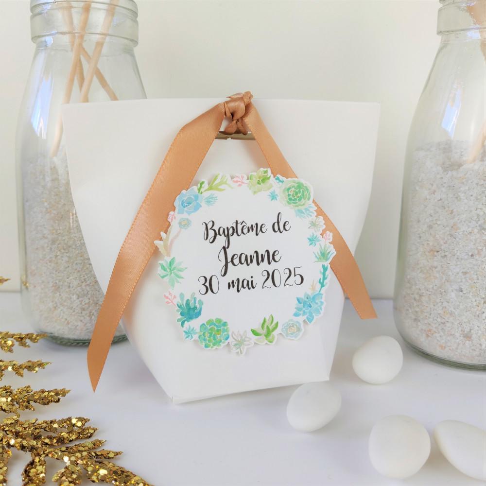 boite a dragées succulent blanche mariage bapteme