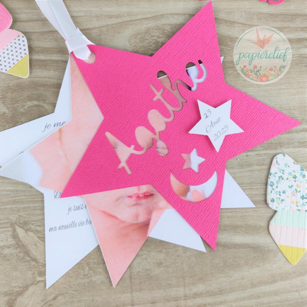 Faire part de naissance étoile fuchsia découpe invitation baptême pour fille