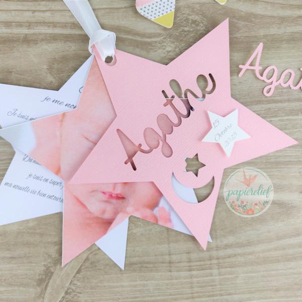 Faire part de naissance étoile rose découpe invitation baptême pour fille originale