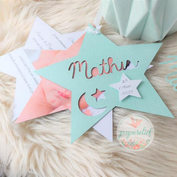 Faire part de naissance étoile mint découpe invitation baptême pour fille garçon mixte originale
