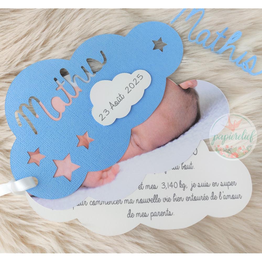 Faire part de naissance nuage bleu découpe invitation baptême pour garçon originale