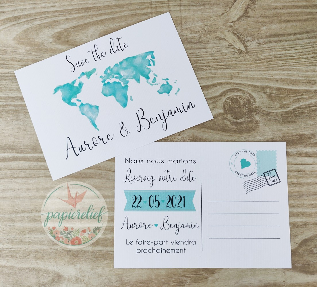 Save the date ou change the date mariage monde en aquarelle mint