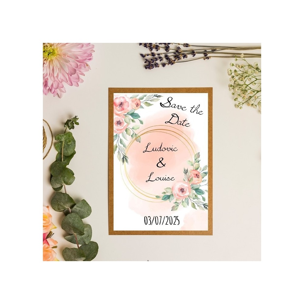 Save the date illustration florale en aquarelle pêche, rose - kraft