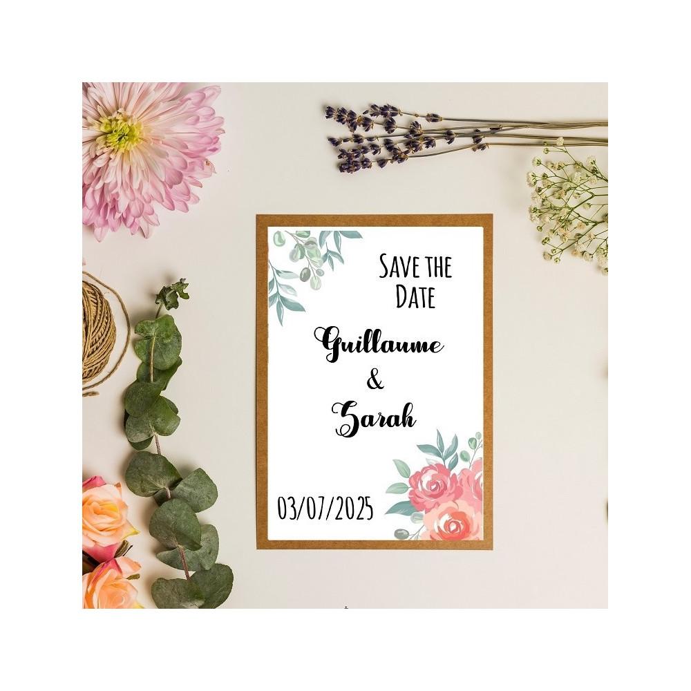 Save the date fleurs rose et peche - kraft - faire-part - mariage champêtre chic