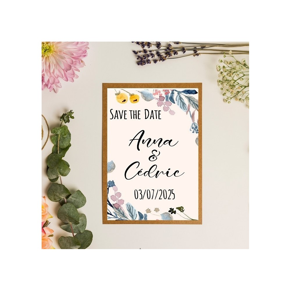 Save the date illustration fleurs en aquarelle jaune-mauve-bleu - kraft