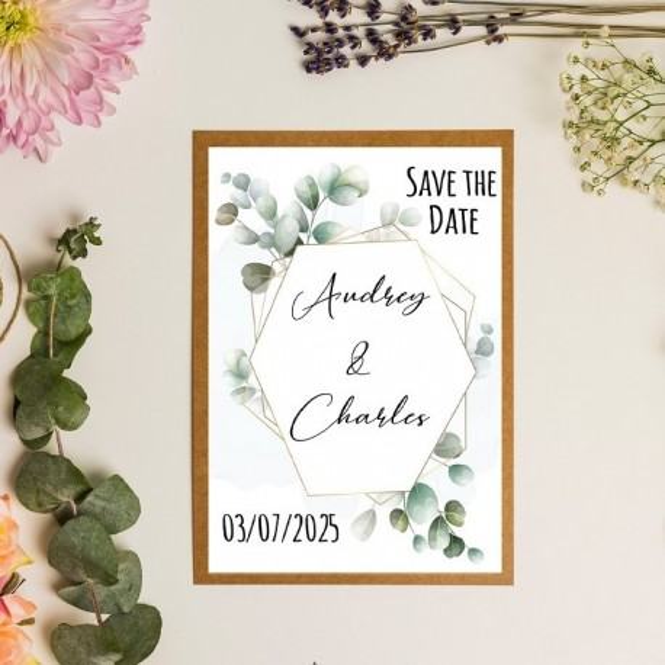 Save the date illustration feuilles eucalyptus en aquarelle - kraft