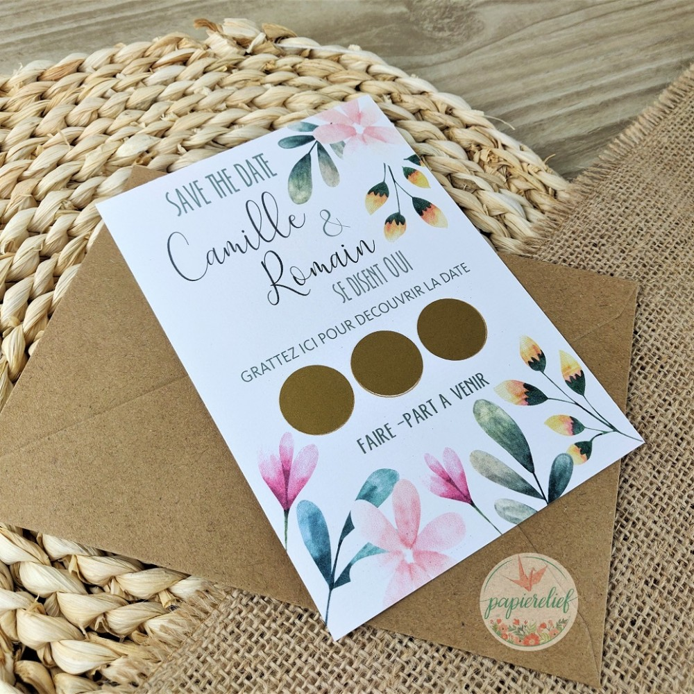 Save the date à gratter - illustration florale en aquarelle - kraft - change the date - botanique - printemps - réservez la date